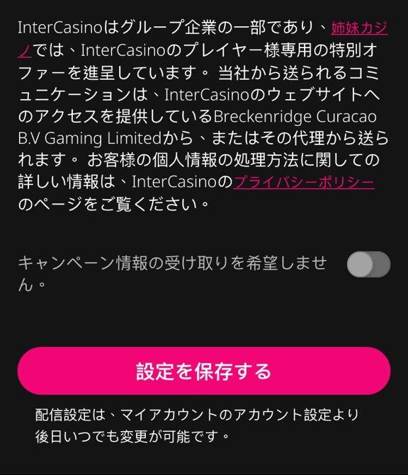 インターカジノ 登録8